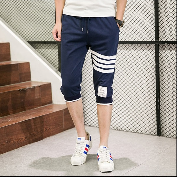 กางเกงขาสั้น3ส่วน JOGGER NAVY/WHITE STRIPED