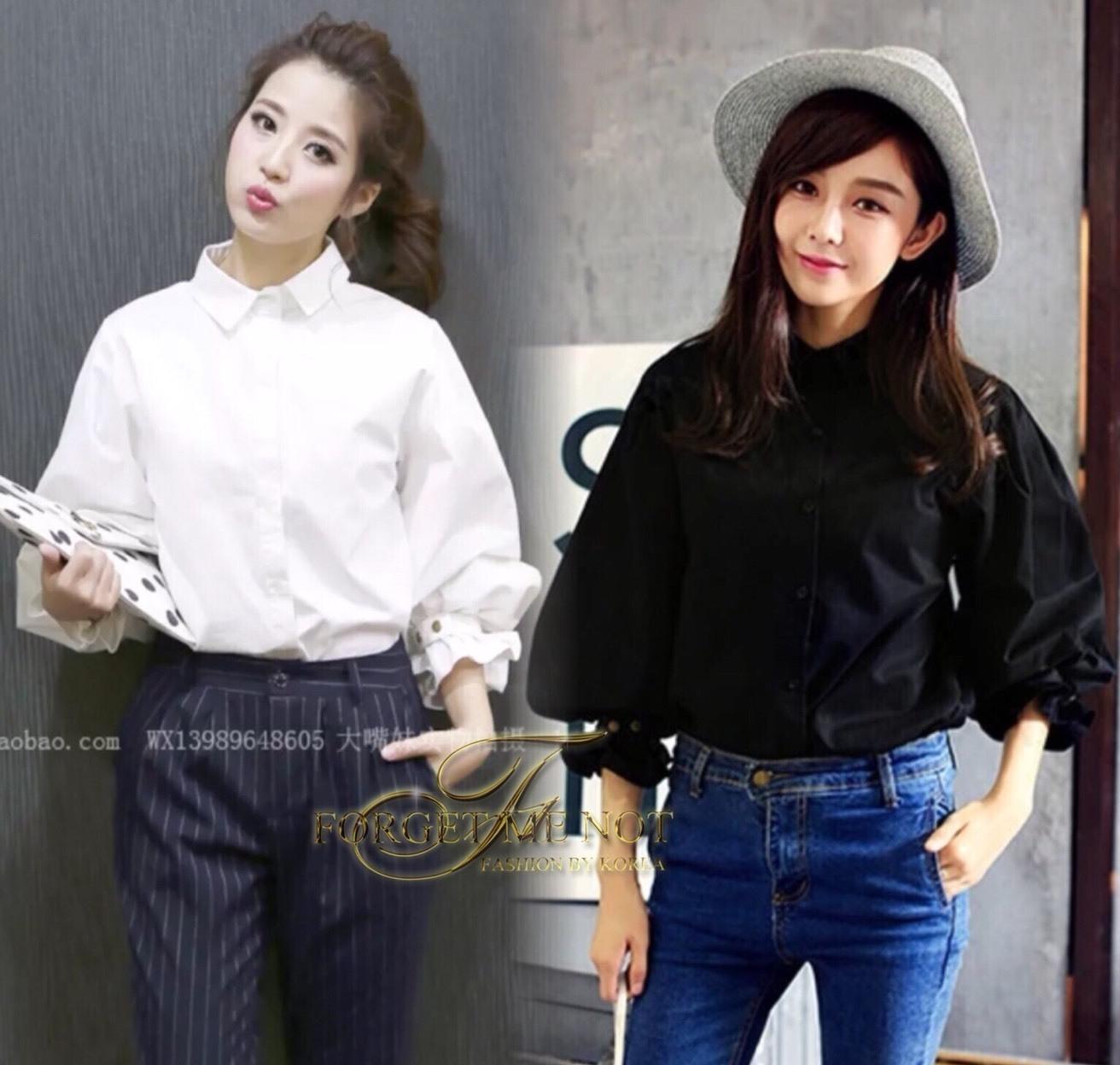 เสื้อเกาหลี พร้อมส่ง เสื้อเชิ้ต เนื้อนิ่ม ผ้า cotton 100%