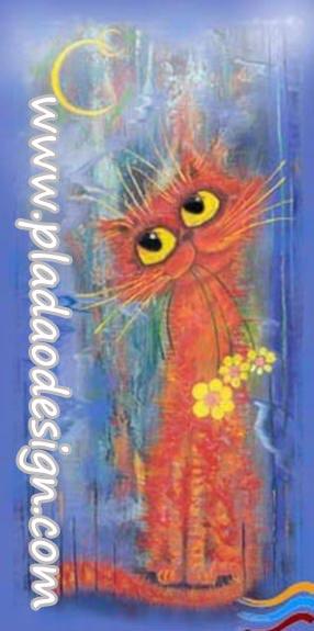 กระดาษสาพิมพ์ลาย สำหรับทำงาน เดคูพาจ Decoupage แนวภาพ การ์ตูนอย่างน่ารัก แมวตัวยาว หูฟู ตาโต