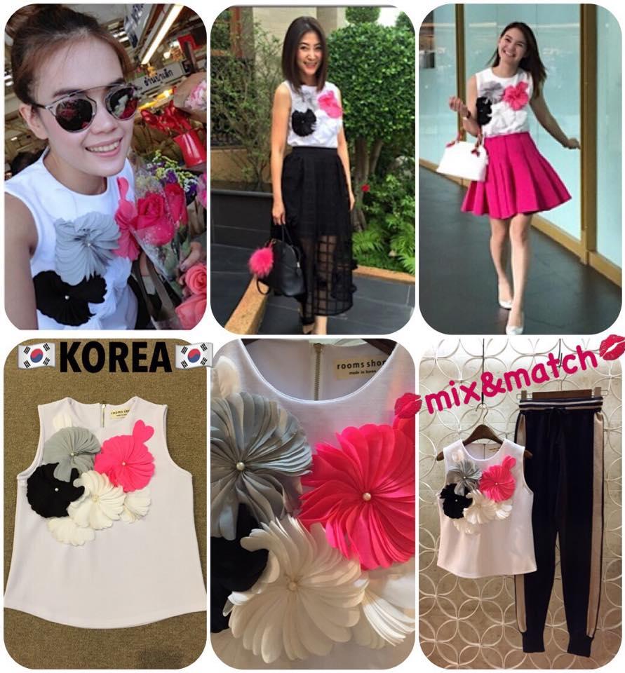 SALE:เสื้อแขนกุด ซิปหลัง ผ้าตามแบบงานเกาหลี แต่งด้วยดอกไม้ทำจากผ้ามาเย็บมัดกัน สลับดอกเล็กใหญ่ สีสันน่ารักมากค่ะ งานเกาหลีขายกัน 2พันปลายนะคะ