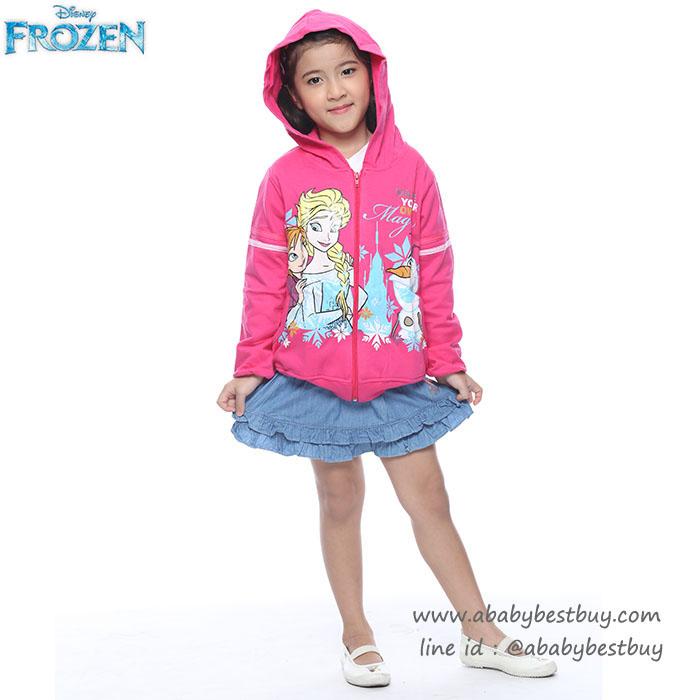""""""" ( Size S-M-L-XL ) Disney Frozen for Girl เสื้อแจ็คเก็ต เสื้อกันหนาว เด็กผู้หญิง สกรีนลายโฟเซ่น สีชมพู รูดซิป มีหมวก(ฮู้ด) ใส่คลุมกันหนาว กันแดด ใส่สบาย ดิสนีย์แท้ ลิขสิทธิ์แท้"""