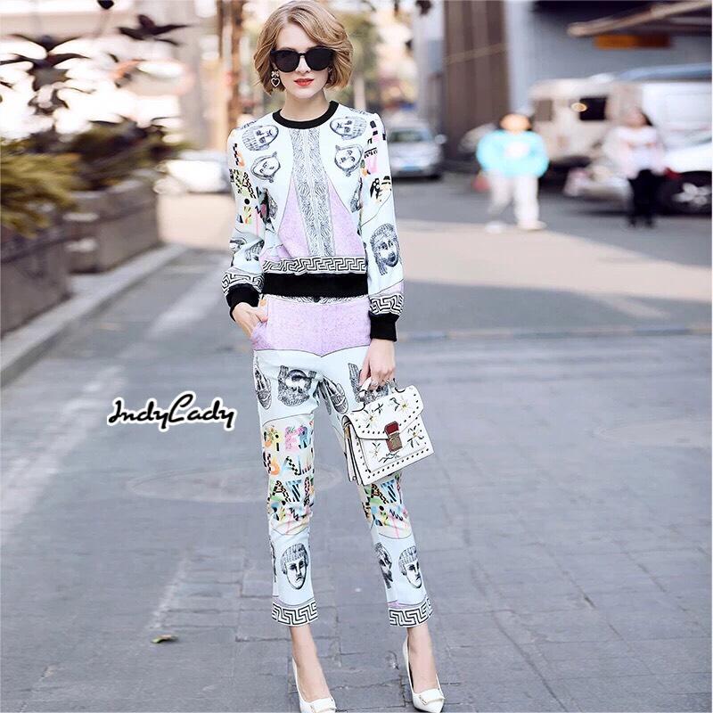 ชุดเซทแฟชั่น เสื้อ+กางเกง ตัวเสื้อแขนยาว ทรงจั๊มเปอร์ มาคู่กับกางเกงขายาว ทรงสวย