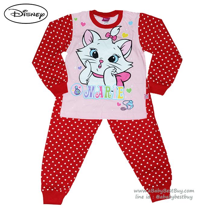 ( S-M-L-XL )ชุดนอน Disney Marie เสื้อแขนยาวสีชมพู กางเกงขายาวสีแดงสุดน่ารัก ดิสนีย์แท้ ลิขสิทธิ์แท้(สำหรับเด็กอายุ 4-10 ปี)