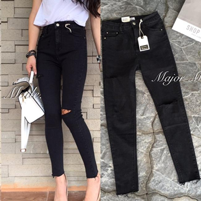 กางเกงแฟชั่น กางเกงยีนส์สไตล์ Korea สีดำฟอกสวย