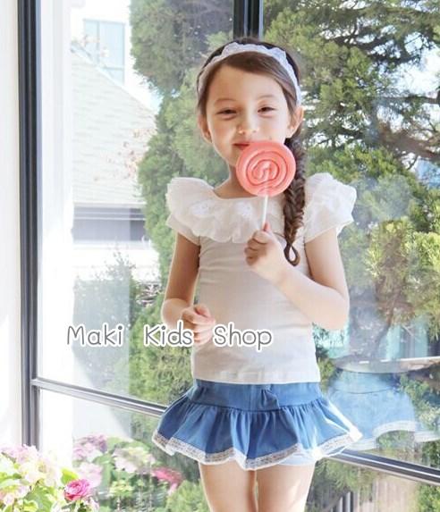 เสื้อเด็กหญิง PinkIdeal เสื้อสีขาว ผูกโบว์ด้านหลัง