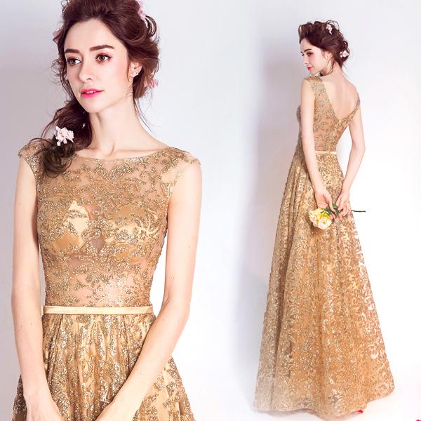 wm5075 ขาย ชุดแต่งงานเจ้าหญิง แบบเรียบหรู สวย หวาน น่ารัก ราคาถูกกว่าเช่า สีทอง