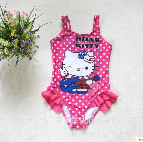 ชุดว่ายน้ำเด็ก ฮัลโหลคิตตี้ Hello kitty ลายคิตตี้จุดขาว พื้นชมพูจุดขาว