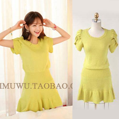 ++สินค้าพร้อมส่งค่ะ++ชุดเดรสเกาหลี คอกลม แขน Swing lotus ผ้า sweater knit เนื้อดีมากค่ะ ขอบเอวกว้าง ปลายเดรสระบาย มี 2 สีค่ะ – สี เขียว