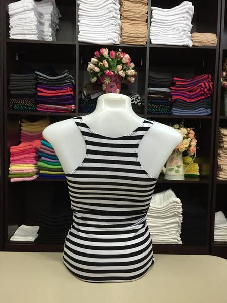 เสื้อกล้ามหลังสปอร์ต ลายริ้ว สีขาว-ดำ