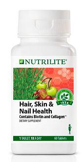Nutrilite Hair Skin Nail Health ( SHN เข้มข้นกว่าไทย 2 เท่า) ขนาด 2 เดือน 60 เม็ด บำรุงผิวพรรณ ผม เล็บ ให้สุขภาพดี คอลลาเจนสูง Amway USA