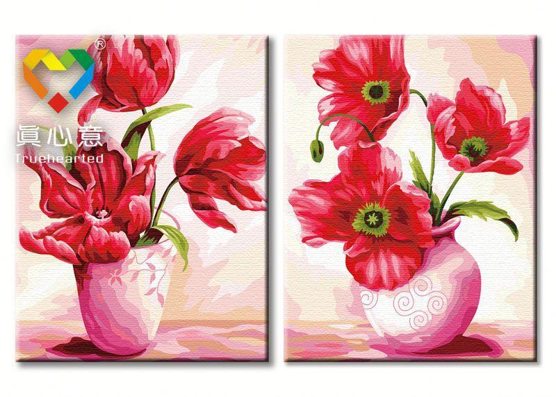 รหัส PH25080019 ภาพระบายสีตามตัวเลข Paint by Number แบบ Splendor Flowers ขนาด40x50cm จำนวน 2 ภาพ/พร้อมส่ง