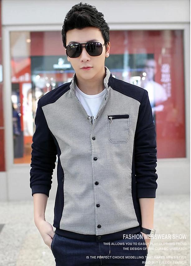 Pre Order เสื้อแจ็คเก็ตผู้ชายแขนยาว แฟชั่นอินเทรนด์ ดีไซน์ลายตารางแต่งสีทูโทน มี3สี