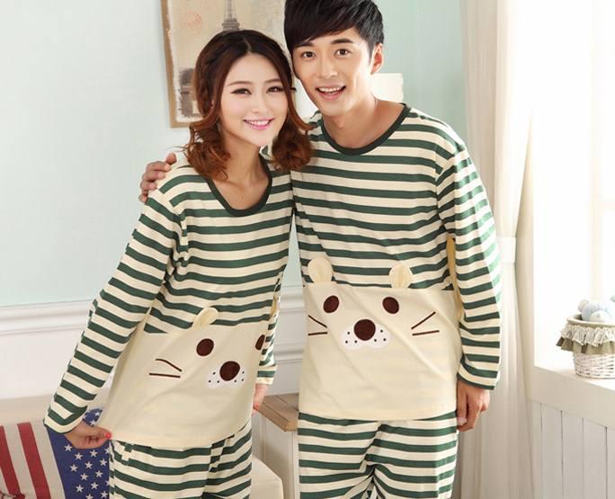 Pre Order ชุดนอนคู่รัก แขนยาว ขายาว ลายขวางน้องเหมียว
