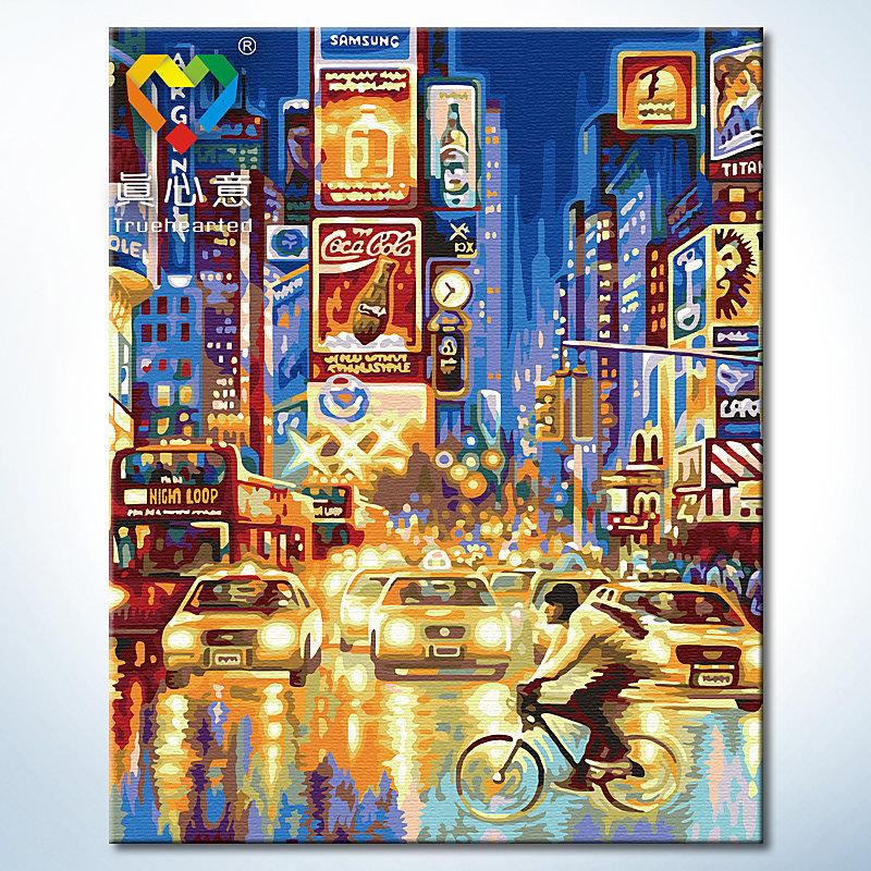 รหัส HB4050310 ภาพระบายสีตามตัวเลข Paint by Number แบบ Time Square ขนาด40x50cm/พร้อมส่ง