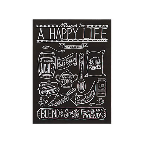 Tin Recipes For Love & Happiness Wall Décor, 4 Styles 'A HAPPY LIFE'