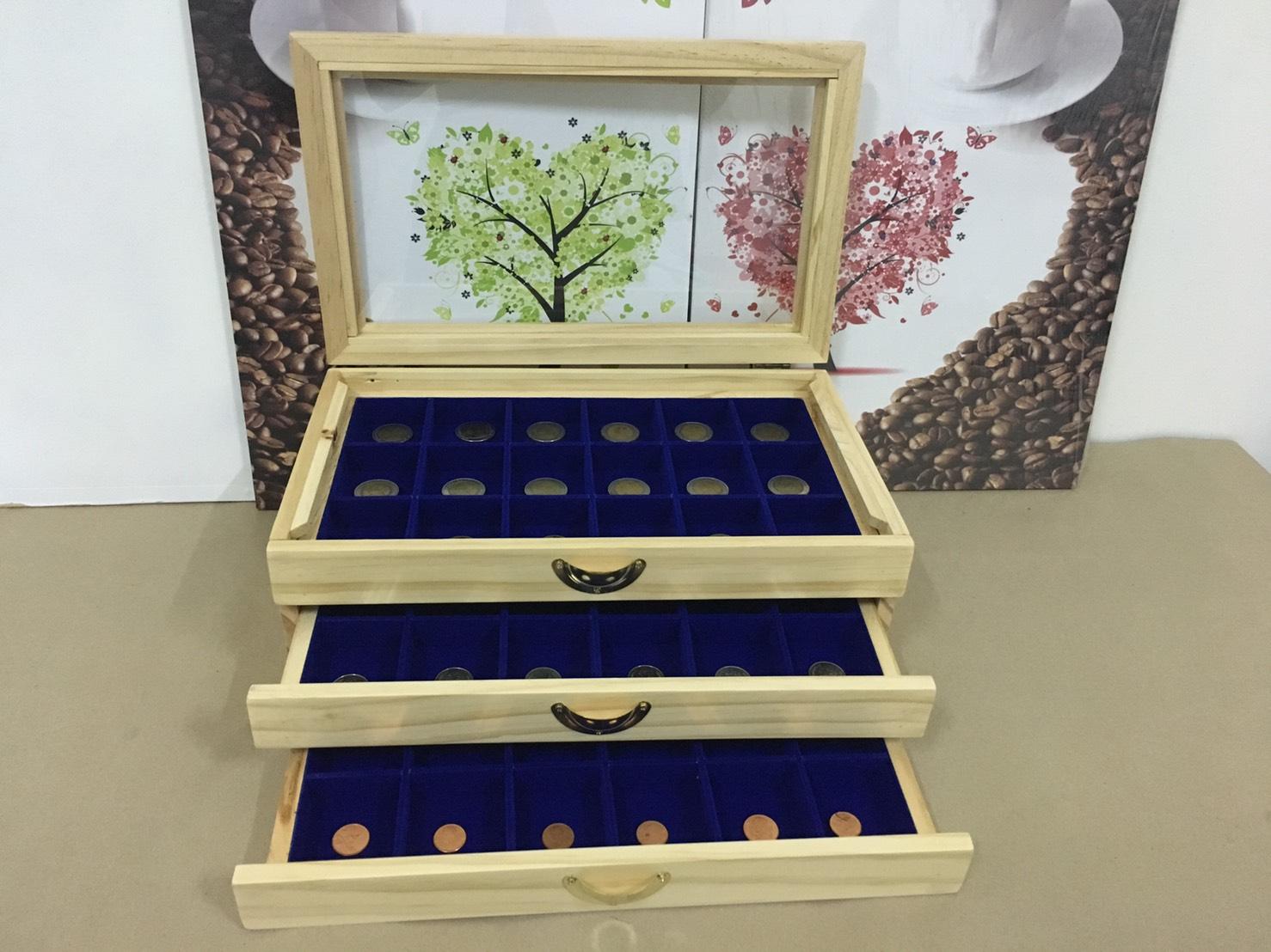 กล่องใส่พระงานไม้สน 3 ชั้นสีน้ำ้งิน 54 ช่อง งานสวย สำหรับเก็บพระ เก็บเหรียญ ต่าง(พร้อมส่ง)