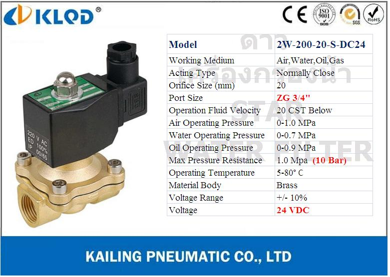 Solenoid Valve ทองเหลือง,คอยล์กันน้ำ 3/4 นิ้ว (6 หุน) 24VDC (NC) KLOD
