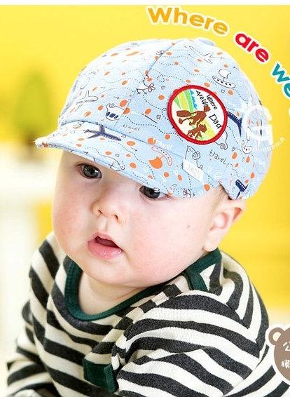 หมวกแก๊ปสีฟ้าลายเครื่องบิน สำหรับเด็ก3-18เดือน น่ารักมากๆค่ะ