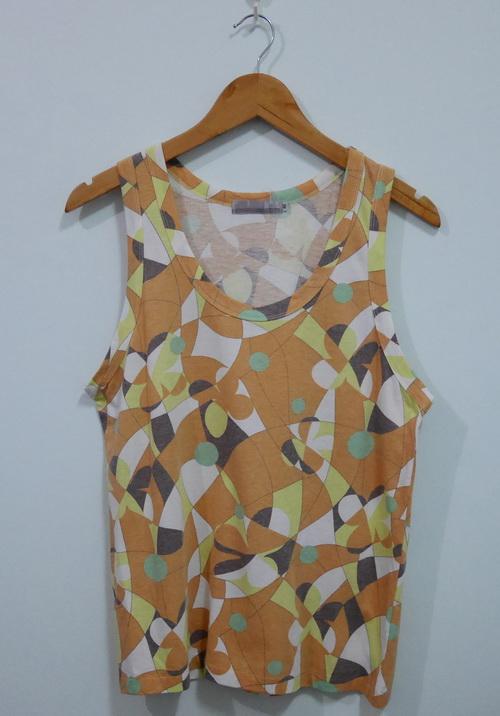 jp4100 เสื้อกล้ามผ้ายืดลายกราฟฟิคสีส้ม รอบอก 35-39 นิ้ว
