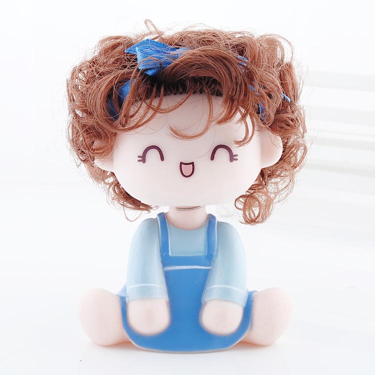 อุปกรณ์ตกแต่งภายในรถ ตุ๊กตาประดับหน้ารถเด็กน่ารัก กระโปรงสีฟ้า