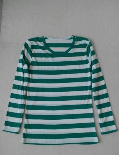 เสื้อยืดแขนยาวลายเขียวสลับขาว