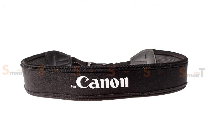 สายคล้องกล้อง Canon White on Black Neck Strap Neoprene