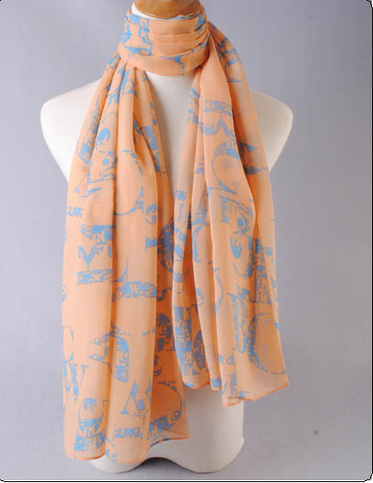 ผ้าพันคอผ้าชีฟองสีส้ม ลายอักษรอังกฤษ