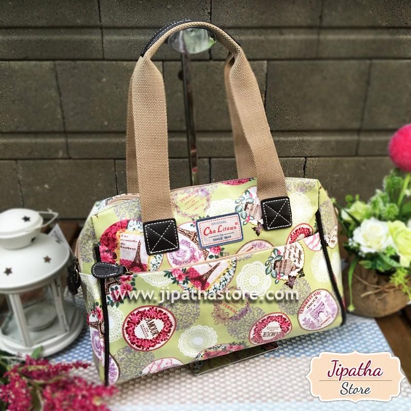 กระเป๋า + สะพาย 2 ซิป 13 นิ้ว สีเขียว ลายดอกไม้