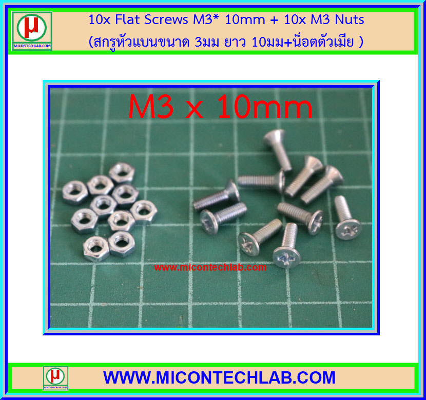 10x Flat Screws M3* 10mm + 10x M3 Nuts (สกรูหัวแบนขนาด 3มม ยาว 10มม+น็อตตัวเมีย )
