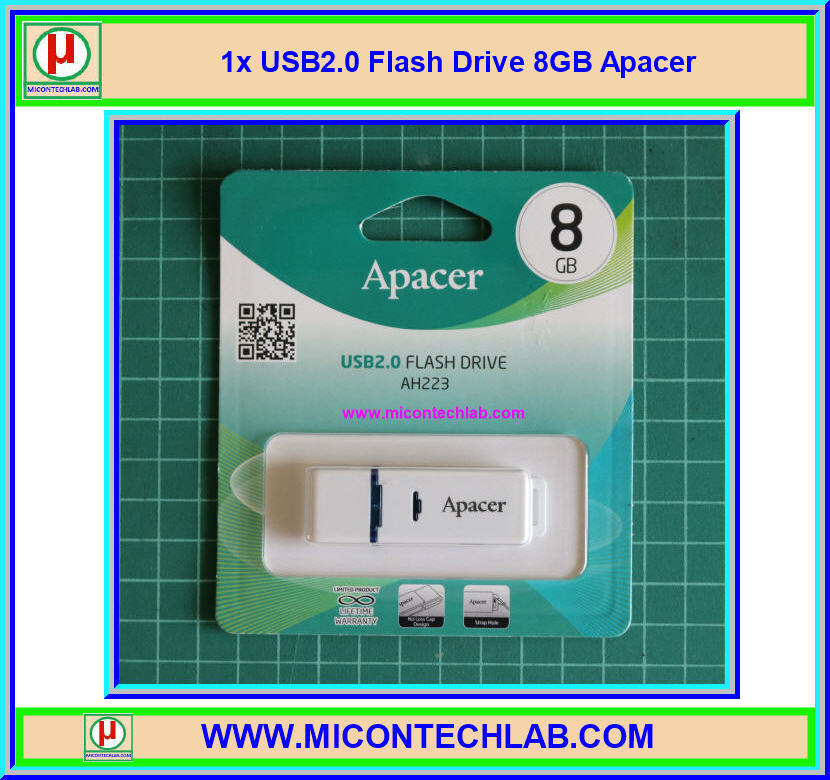1x USB2.0 Flash Drive 8 GB AH223 Apacer Flash Memory Stick