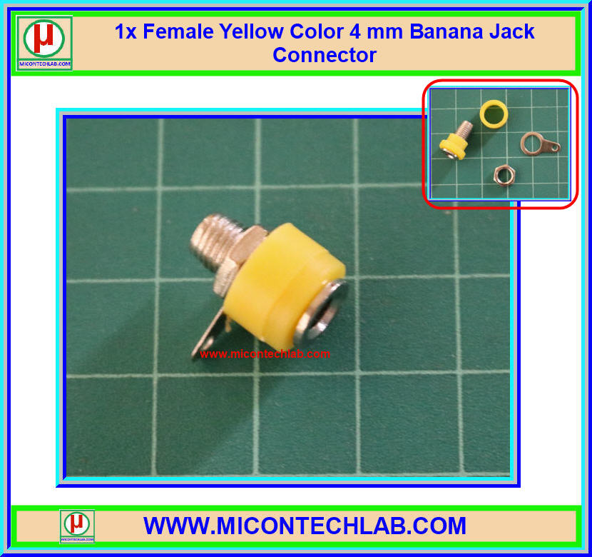 1x Female Yellow Color 4 mm Banana Jack Connector