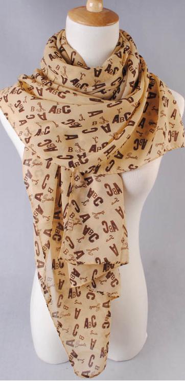ผ้าพันคอผ้าชีฟองสีเบส ตัวอักษรABCสีน้ำตาล